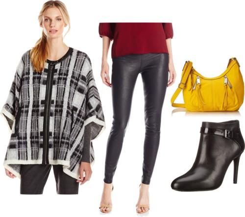Plaid Cape + Leather Leggings