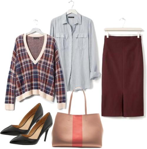 Plaid Vee Pullover + Burgundy Pencil Skirt