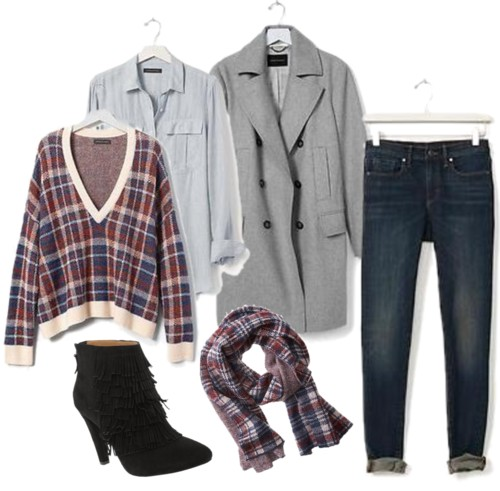 Plaid Vee Pullover + Gray Long Peacoat