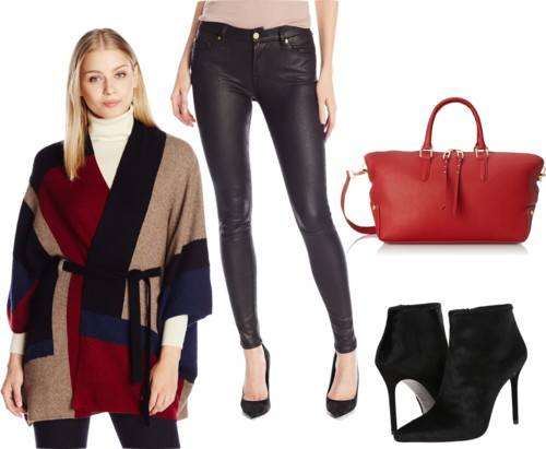 Poncho Sweater + Leather-like Jeans