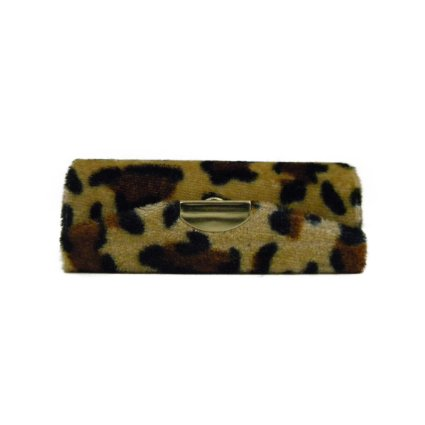 Velvet Cheetah Lipstick Case with Mirror Animal Print Lip Stick Holder