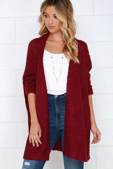 Wine Red Long Cardigan Sweater