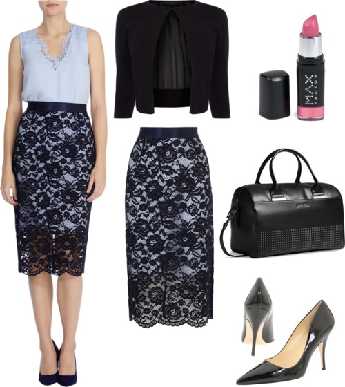 classic lace pencil skirt for work