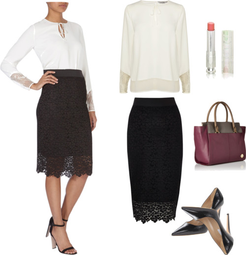classic white top + lace pencil skirt
