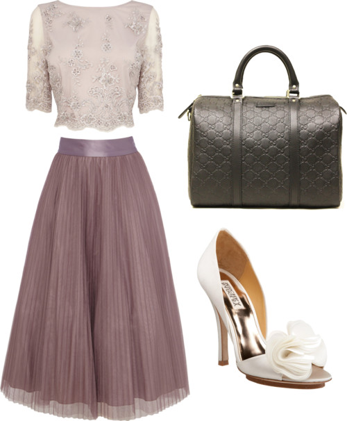 crop lace top + A-line pleated skirt