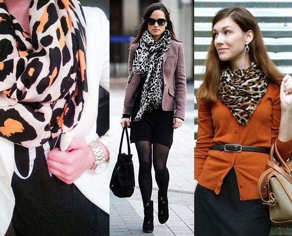 how to wear leopard print scarf to work