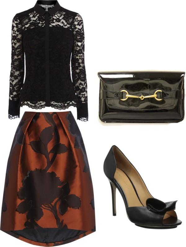 lace top + jacquard print skirt