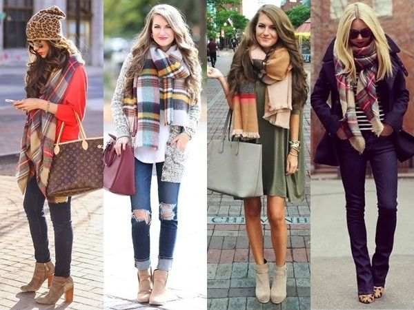 plaid scarf outfits