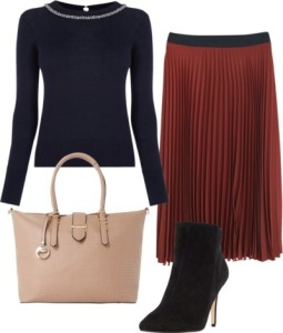 how to wear pleated skirt with ankle boots