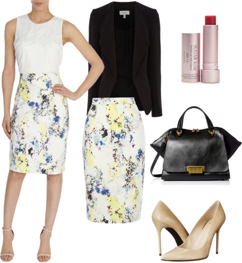 tailored jacket + printed lace pencil skirt