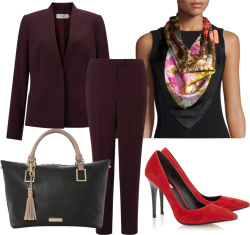 wine suit and pants with flower-leopard print silk scarf