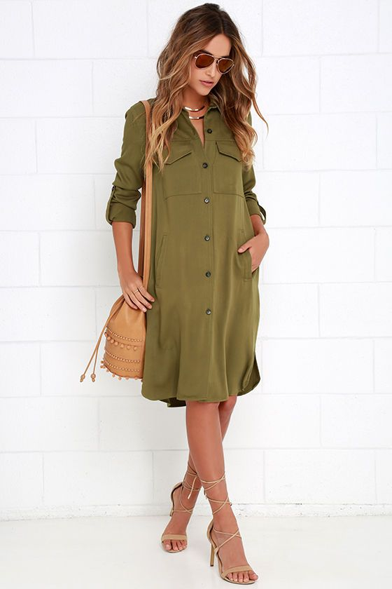 Chic Repertoire Olive Green Shirt Dress