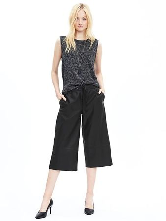 Faux-Leather Drawstring Gaucho Pant