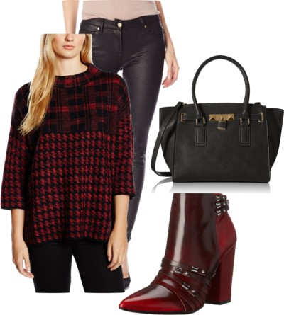 Houndstooth and Check Knit Sweater + Martini Ankle Boots