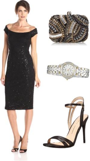 Off The Shoulder Sequin Lace Dress