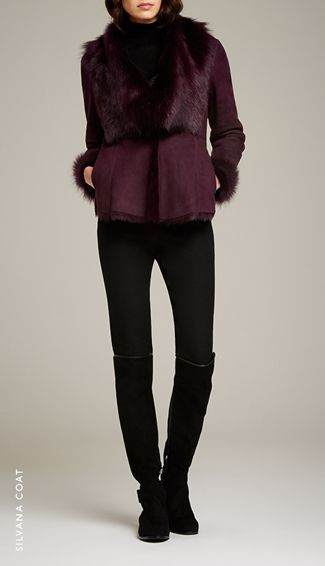 Silvana Shearling Coat Red Cherry