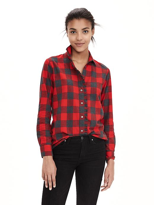 Soft-Wash Buffalo Check Flannel Shirt red