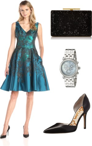 Teal Flower Jacquard Party Dress