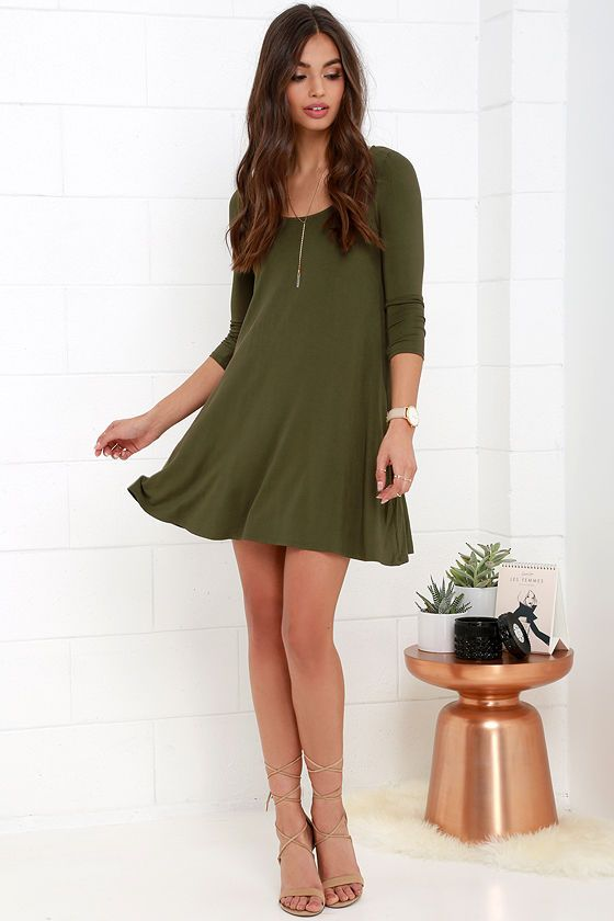 Twirl Power Olive Green Swing Dress