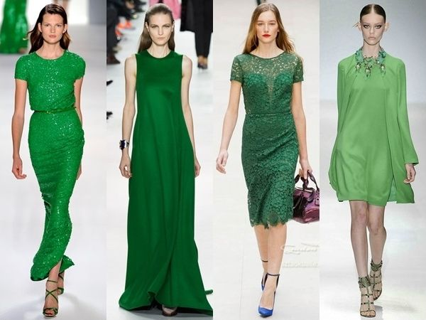 green dresses runway trend