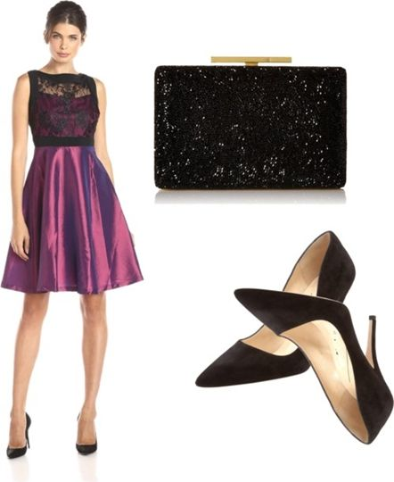office party outfit Lace Bodice Taffeta Dress