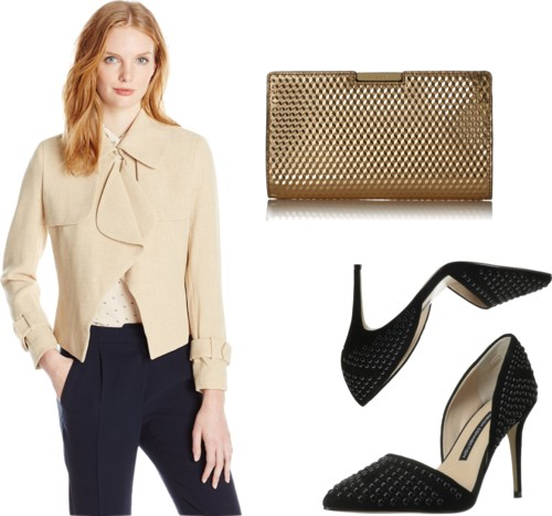office party outfit Short Trench Crepe Jacket
