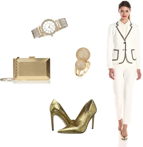 office party outfit white + gold