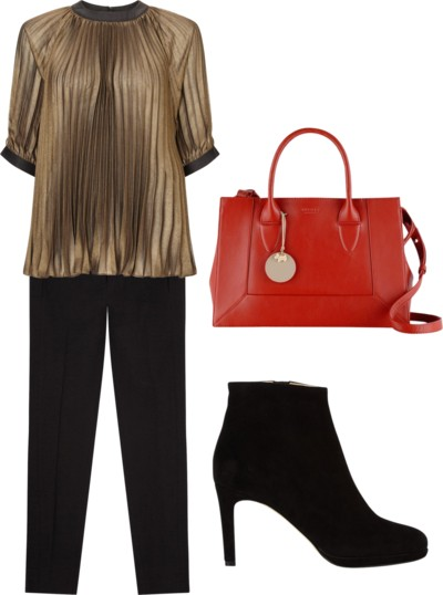 pleated blouse outfit