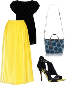 how to wear brigth pleated long skirt