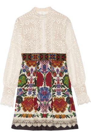 Anna Sui Lace and cotton-blend jacquard mini dress