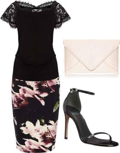 Bardot Top + Shadow Floral Print Pencil Skirt