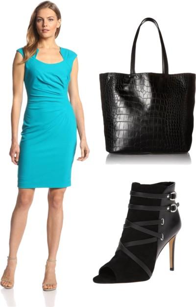 Cap-Sleeve Side-Ruched Sheath Dress