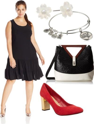 Plus-Size Sleeveless Flounce-Hem Dress