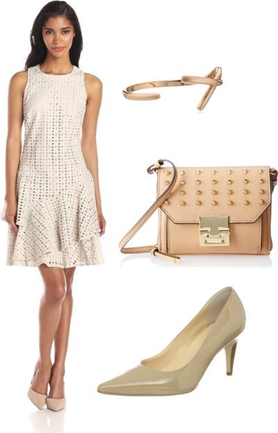 Sleeveless Eyelet Dress with Flounce Skirt
