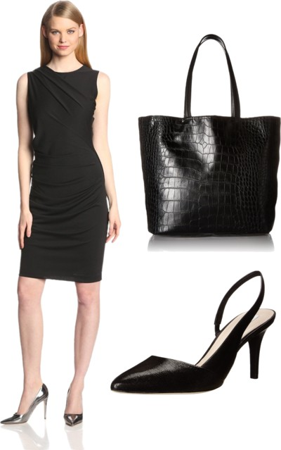 Sleeveless Ruched Dress in Black