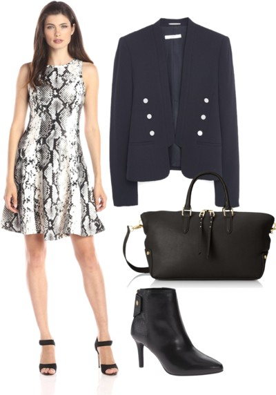 Snake-Print Fit-and-Flare Dress