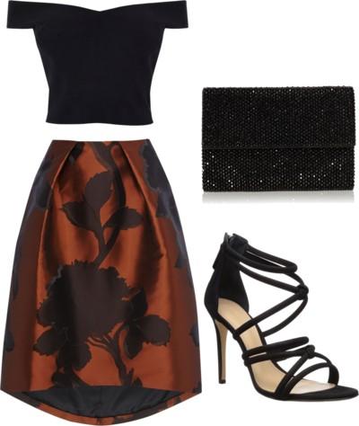 bardot top + jacquard skirt