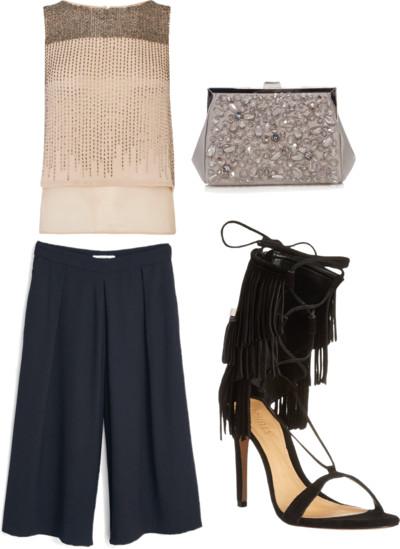 embellished top + palazzo pants