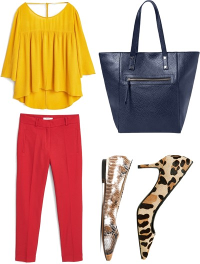 flowy bright top with bright trousers