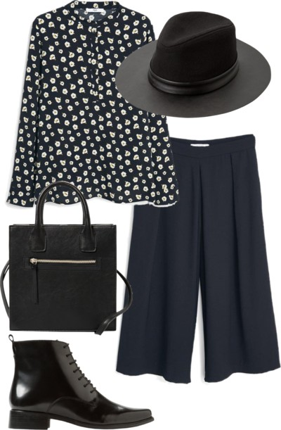 mono print floral shirt with culottes