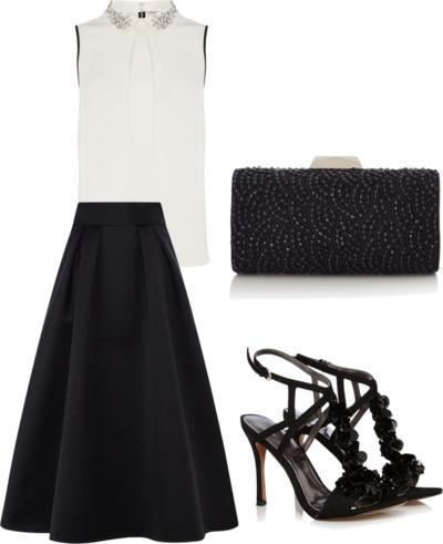 white beaded top + black midi skirt
