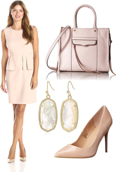 Bare Pink Sleeveless Peplum Dress