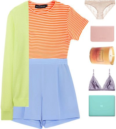 Bright Long-Knit Cardigan with Silk Shorts