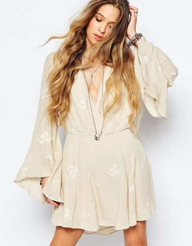 Free People Jasmine Embroidered Dress in Almond