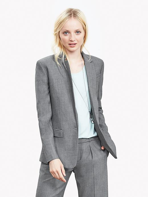 Gray Lightweight Wool One-Button Blazer