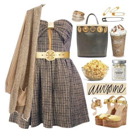 Khaki Long Cardigan with Brown Bow Dress