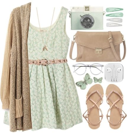 Khaki Long Cardigan with Neutral Print Dress