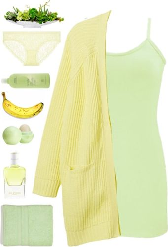 Lemon Cardigan + Canary Green Tank