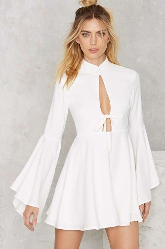 Nasty Gal Fool For You Bell Sleeve Dress - White