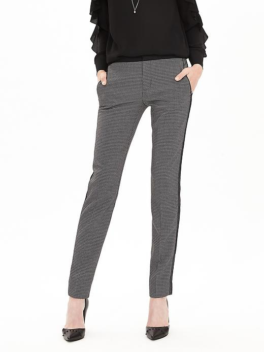 Piped Jacquard Slim Ankle Pant
